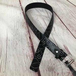 Boutique Black Leather Rhinestone Tooled Belt NWT